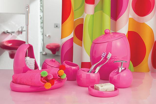Набор в ванную комнату 6 предметов Нора розовый