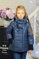 Детская курточка на девочку весна-осень ''Цветки'' синяя 32,34