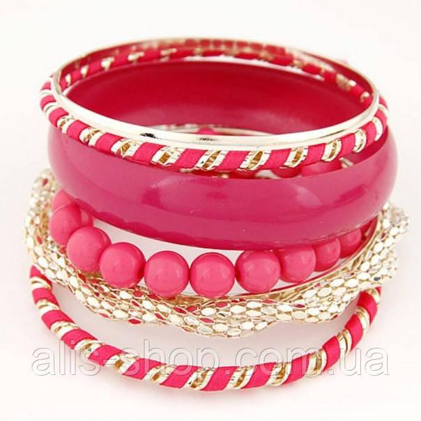 Набор браслетов цвета фуксии