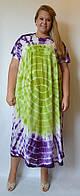 Платье, до 70 размера, салатово-фиолетовое
