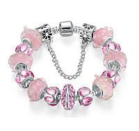 Женский браслет 0144 Пандора PANDORA с подвесками розовый