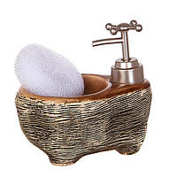 Диспенсер для жидкого мыла (моющего средства) керамический с подставкой под губку Бронза 755-105