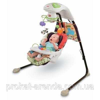 Укачивающий центр или детские качели для новорожденных  fisher price  Зоопарк, фото 1