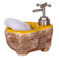 Диспенсер для жидкого мыла (моющего средства) керамический с подставкой под губку Ванночка желт-кор 755-106