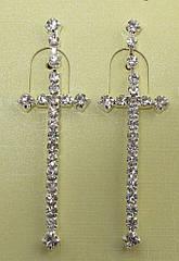 Длинные серьги-кресты в камнях L 6 см