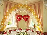 Весільні серця з повітряних та гелієвих кульок, фото 4