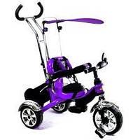 Детский трехколесный фиолетовый велосипед combi trike bt-ct-0012 с ручкой