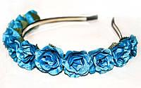 Веночек из синих роз Ободок для волос