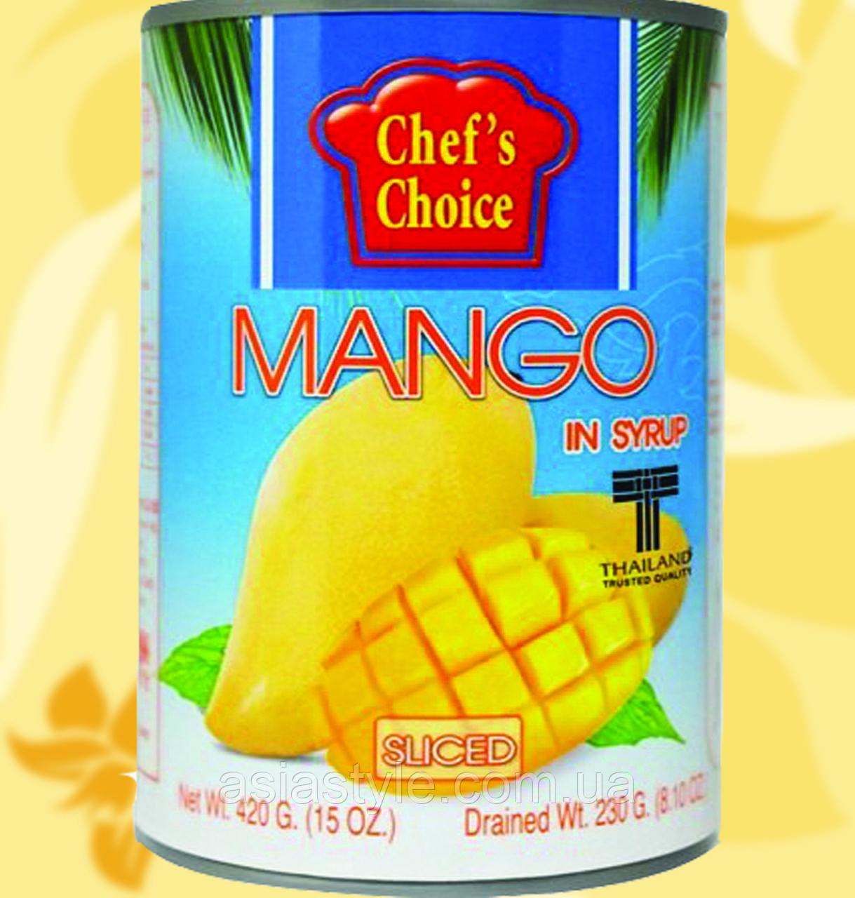 Тайський манго в сиропі, жовте, часточки, 420 гр, CHEF'S CHOICE, Gf