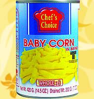 Бейби кукуруза в рассоле, целая, 420 гр, CHEF'S CHOICE, Gf