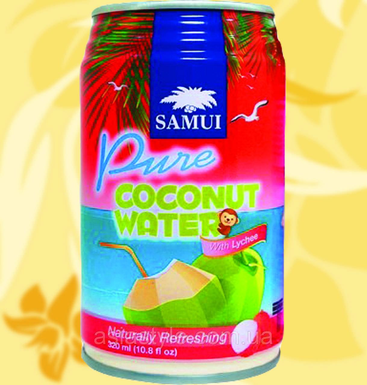 Натуральна кокосова вода з лічі, SAMUI, 320мл, Gf