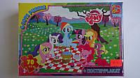 """Пазлы  """"My little Pony"""" на пикнике, 70 ел.+постер-плакат.Детские  пазлы G-Toys ― """"My little Pony"""" Моя маленька"""