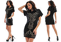 Платье женское с перфорацией - Черный