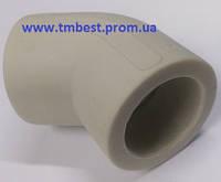 Угол полипропиленовый (ппр) диаметр 63х45 градусов для поворота в системе водопровода под углом 45.
