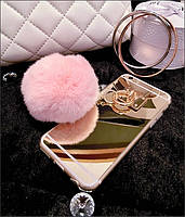 Чехол для iPhone 6/6Plus/7 бубон из мех кролика рекс + mirror