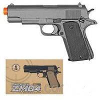 Пистолет с металлической рамкой и пружиной zm04. cтреляет пулями 6 mm.