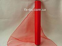 Органза флористическая на метраж,цвет красный (ширина 36-38см)