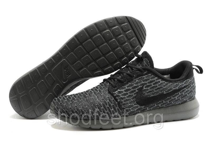 Мужские кроссовки Nike Roshe Run Flyknit Black Midnight