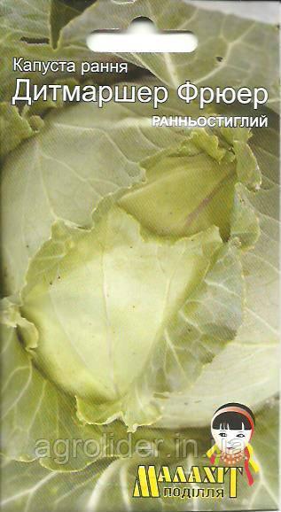 Семена капуста раняя Дитмаршер Фрюэр 1г Зеленая (Малахiт Подiлля)