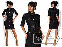 Платье c накладными карманами, воротничком и манжетами (135)