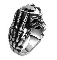 Кольцо нержавеющая сталь рука черный камень