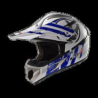 Кроссовый шлем LS2 MX433 STRIPE WHITE BLUE размер S