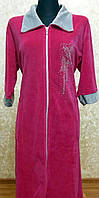 Удлинённый велюровый халат до 56р