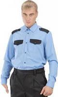 Голубая комбинированая рубашка с длинным рукавом
