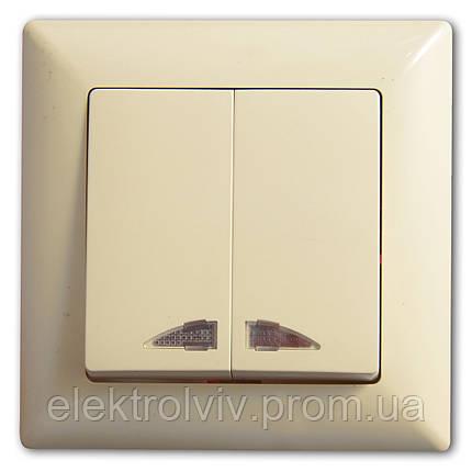 Выключатель 2-кл. с подсветкой, фото 2