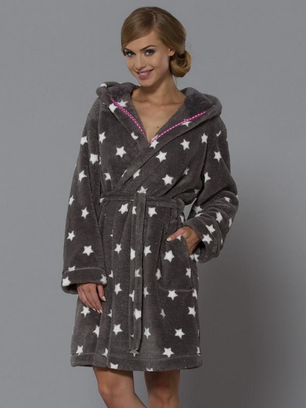 Банний домашній жіночий халат середньої довжини L&L JOY