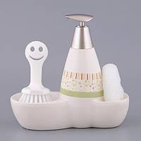 Диспенсер для жидкого мыла керамический с подставкой под губку и щетку Нежные цветы 450 мл 755-083