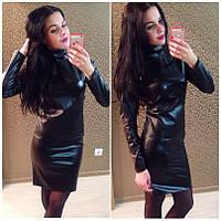 Женский кожаный черный костюм IO-165