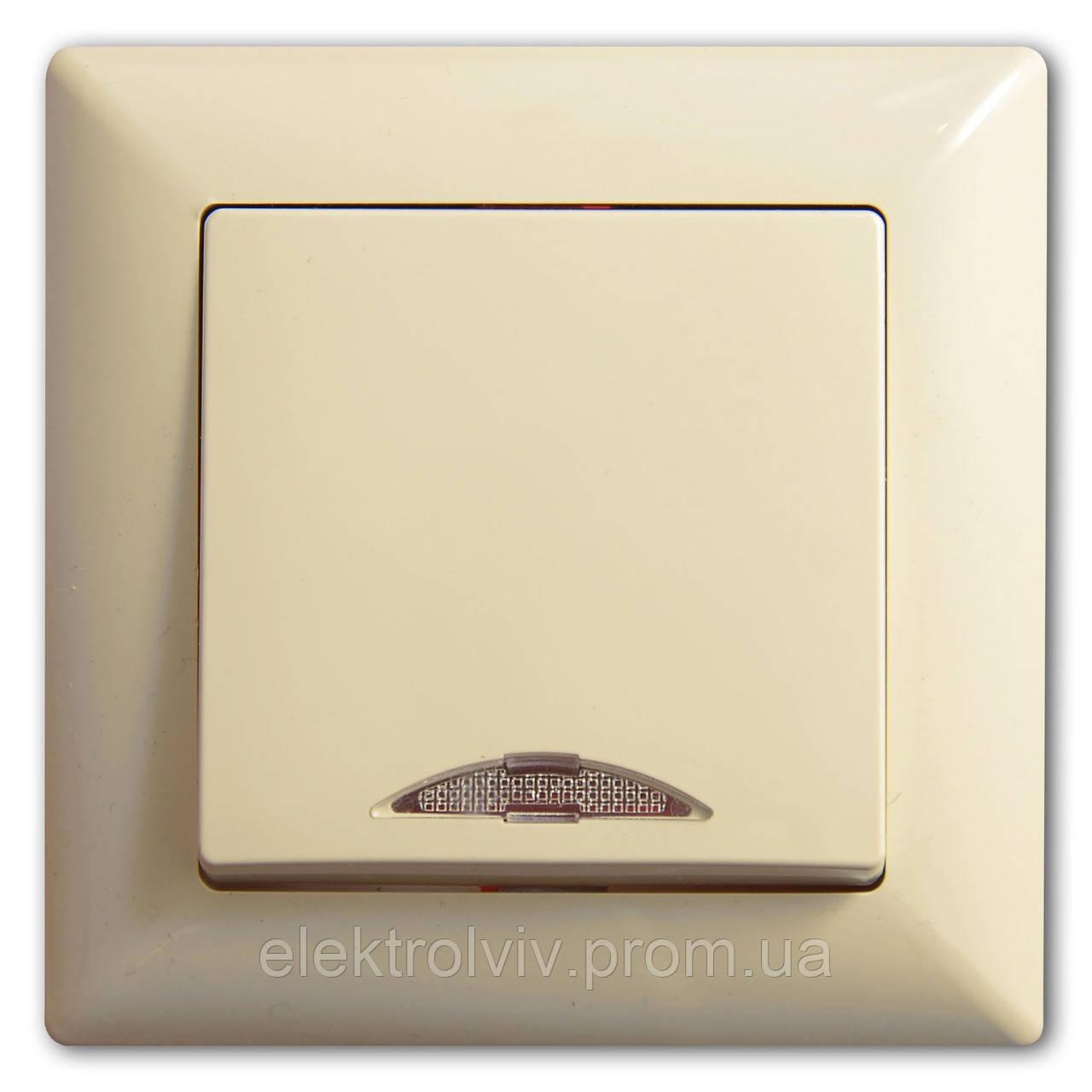 Выключатель 1-кл проходной с подсветкой