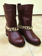 Женские кожаные весенние сапоги без каблука  бордовые