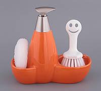 Диспенсер для жидкого мыла керамический с подставкой под губку и щетку Оранж 450 мл 755-084