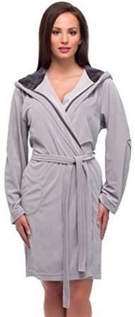 Жіночий домашній халат середньої довжини у сірому кольорі L&L Colette