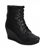 Ботинки кожаные женские демисезонные на шнуровке, танкетка.