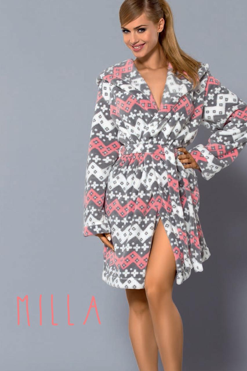Короткий жіночий халат з красивим малюнком L&L MILLA