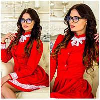 Женское ажурное красное платье IO-176