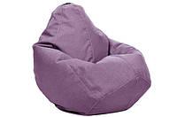 Бледно-сиреневое кресло-мешок груша 100*75 см из микро-рогожки