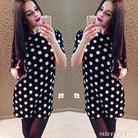 Женское трапецевидное платье в горошек IO-178
