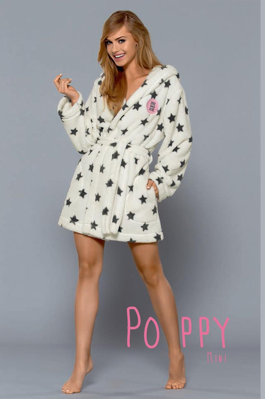 Домашній жіночий халат на запах середньої довжини  L&L POPPY mini