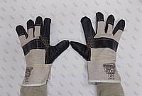 Перчатки комбинированные хб+кожа, пятипалые