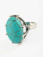 Кольцо с большим камнем бирюза