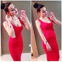 """Женское платье-майка """"T-shirt"""" красное IO-204"""