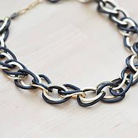 Ожерелье крупная цепь под золото с черным