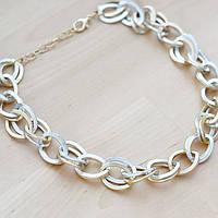 Ожерелье крупная цепь под золото с серебром