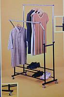 Стойка для одежды двойная  с полками усиленная, фото 1