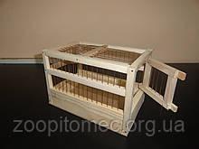 Клетка переноска для птиц, грызунов дерево 23x14x15,5 см.0,5 см (расстояние между прутьями)