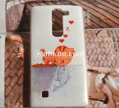 Чехол для LG G4c панель накладка с рисунком котик с рыбкой